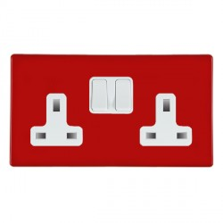 Hamilton Hartland CFX Red 2 gang 13A Switched Socket - Double Pole with White Insert
