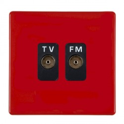 Hamilton Hartland CFX Red 2 gang Isolated Television/FM 1in/2out with Black Insert