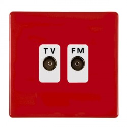 Hamilton Hartland CFX Red 2 gang Isolated Television/FM 1in/2out with White Insert