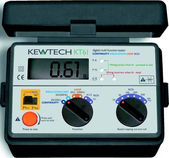 Kewtech KT61 Digital Loop, RCD, Insulation, Continuity Tester at UK ...