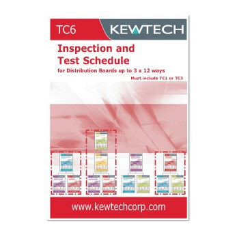 Kewtech TC6 Inspection and Test Schedule for Distribution Boards up to 3x12 ways