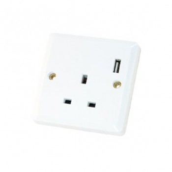Selectric 1 Gang 13 Amp Socket with USB Outlet