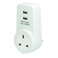 Selectric Single Socket Plug-in Adaptor with 2 USB outlets LG8191-USB2