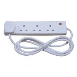 Norslo 4 Gang 13A White Extension Lead