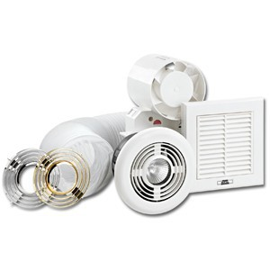 KingShield 100mm In-Line Shower Fan Kit with Light