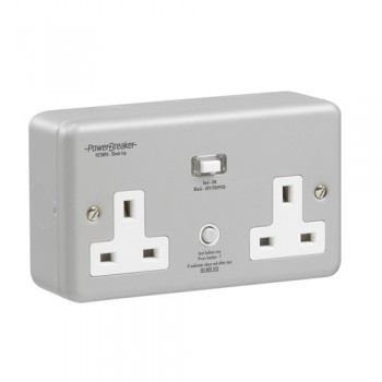 PowerBreaker Metalclad 2 Gang 13A Unswitched RCD Socket