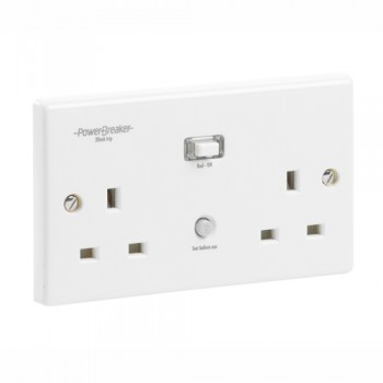 PowerBreaker White 2 Gang 13A Unswitched RCD Socket