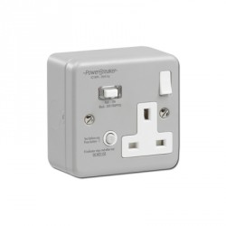 PowerBreaker K Range Metalclad 1 Gang 13A Switched RCD Socket - Passive 30mA