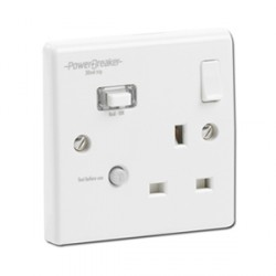 PowerBreaker K Range White Moulded 1 Gang 13A Switched RCD Socket - Passive 30mA