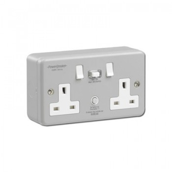 PowerBreaker K Range Metalclad 2 Gang 13A Switched RCD Socket - Passive 30mA
