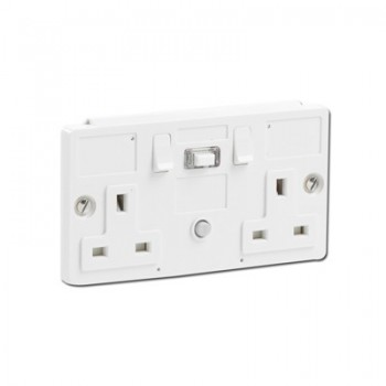 PowerBreaker K Range White Moulded Panel Mounting 2 Gang 13A Switched RCD Socket