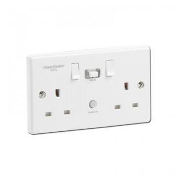 PowerBreaker K Range White Moulded 2 Gang 13A Switched RCD Socket - Passive 30mA