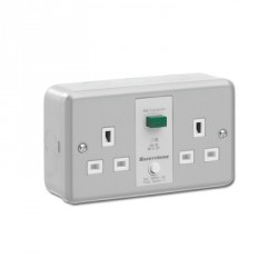 KingShield SafetySure Metalclad 2 Gang 13A Unswitched RCD Socket