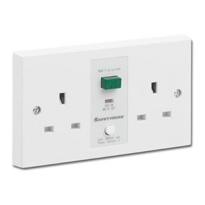 Greenbrook SafetySure White 2 Gang 13A Unswitched RCD Socket