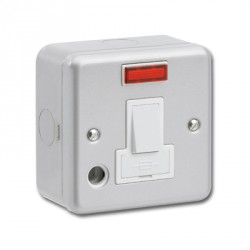 Greenbrook Metalclad 13A Double Pole Switched Fused Spur with Cord Outlet and Neon