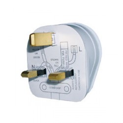 Greenbrook Plug Top White with 3amp Fuse