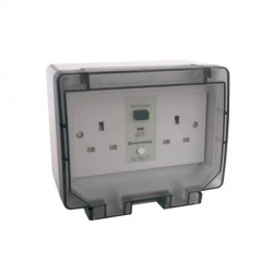 KingShield PowerX IP55 Weatherproof 2 Gang 13A Unswitched RCD Socket