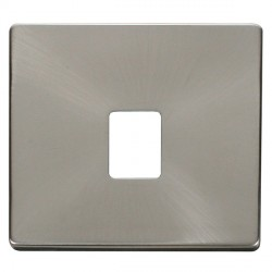 Click Definity SCP115BS Single RJ11/RJ45 Outlet Cover Plate in Brushed Steel