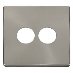 Click Definity SCP222BS 2 Gang Toggle Switch Cover Plate in Brushed Steel