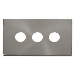 Click Definity SCP223BS 3 Gang Toggle Switch Cover Plate in Brushed Steel