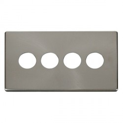 Click Definity SCP224BS 4 Gang Toggle Switch Cover Plate in Brushed Steel
