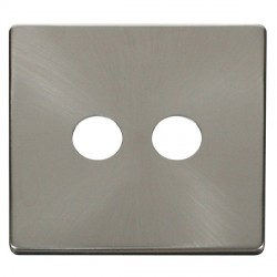 Click Definity SCP232BS Twin Coaxial/Satellite Cover Plate in Brushed Steel