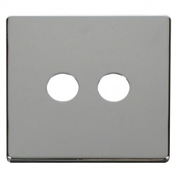 Click Definity SCP232CH Twin Coaxial/Satellite Cover Plate in Polished Chrome