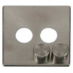 Click Definity SCP242BS 2 Gang Dimmer Switch Cover Plate in Brushed Steel