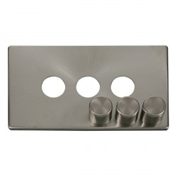 Click Definity SCP243BS 3 Gang Dimmer Switch Cover Plate in Brushed Steel