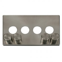 Click Definity SCP244BS 4 Gang Dimmer Switch Cover Plate in Brushed Steel
