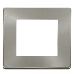 Click Definity SCP311BS Single Plate Twin Aperture Cover Plate in Brushed Steel