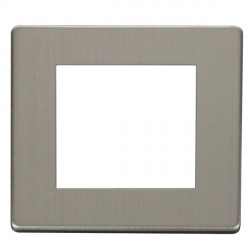 Click Definity SCP311SS Single Plate Twin Aperture Cover Plate in Stainless Steel