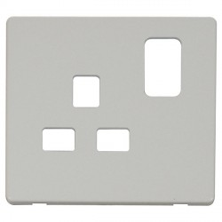Click Definity SCP435PW UK 1 Gang 13A Switched Socket Outlet Cover Plate in Polar White
