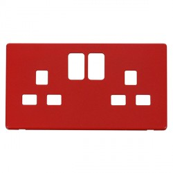 Click Definity SCP436RD UK 2 Gang 13A Switched Socket Outlet Cover Plate in Red