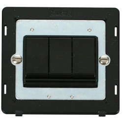 Click Definity SIN013BK 10AX 3 Gang 2 Way Switch Insert in Black
