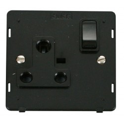 Click Definity SIN034BK 1 Gang 15A Round Pin Switched Socket Outlet Insert in Black