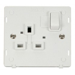 Click Definity SIN035PW UK 1 Gang 13A Switched Socket Outlet Insert in Polar White