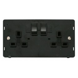Click Definity SIN036BK UK 2 Gang 13A Switched Socket Outlet Insert in Black