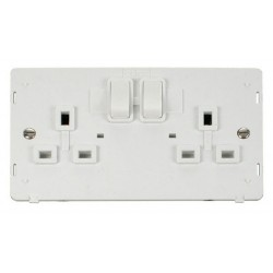 Click Definity SIN036PW UK 2 Gang 13A Switched Socket Outlet Insert in Polar White