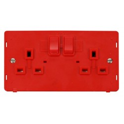 Click Definity SIN036RD UK 2 Gang 13A Switched Socket Outlet Insert in Red