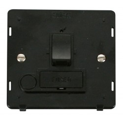 Click Definity SIN051BK 13A Fused Switched Connection Unit Insert with Flex Outlet in Black