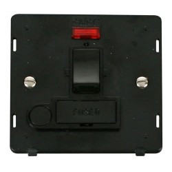 Click Definity SIN052BK 13A Fused Switched Connection Unit Insert with Flex Outlet and Neon in Black