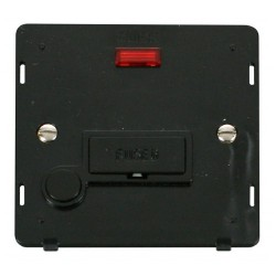 Click Definity SIN053BK 13A Fused Connection Unit Insert with Flex Outlet and Neon in Black