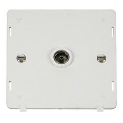 Click Definity SIN065PW Single Standard Coaxial Socket Insert in Polar White