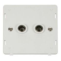 Click Definity SIN066PW Twin Standard Coaxial Socket Insert in Polar White