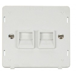 Click Definity SIN126PW Twin Telephone Outlet Secondary in Polar White