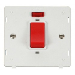 Click Definity SIN201PW 45A 1 Gang DP Switch with Neon Insert in Polar White