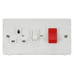 Click Definity SIN204PW 45A DP Switch with 13A DP Switched Socket Outlet Insert in Polar White