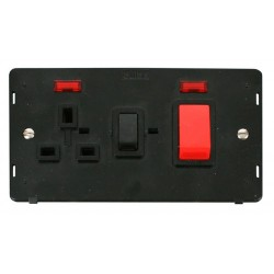 Click Definity SIN205BK 45A DP Switch with 13A DP Switched Socket Outlet and Neons Insert in Black