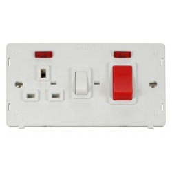 Click Definity SIN205PW 45A DP Switch with 13A DP Switched Socket Outlet and Neons Insert in Polar White
